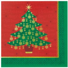 16 Golden Christmas Tree Paper Party Napkins